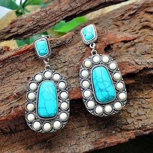 Turkish Natural Silver Turquoise Earrings